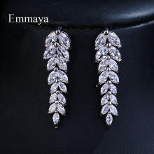 Emmaya Brand Fashion Charm AAA Cubic Zircon Multicolor Salix Leaf Pendant Earrings For Women Wedding Party Jewelry Gift стоимость