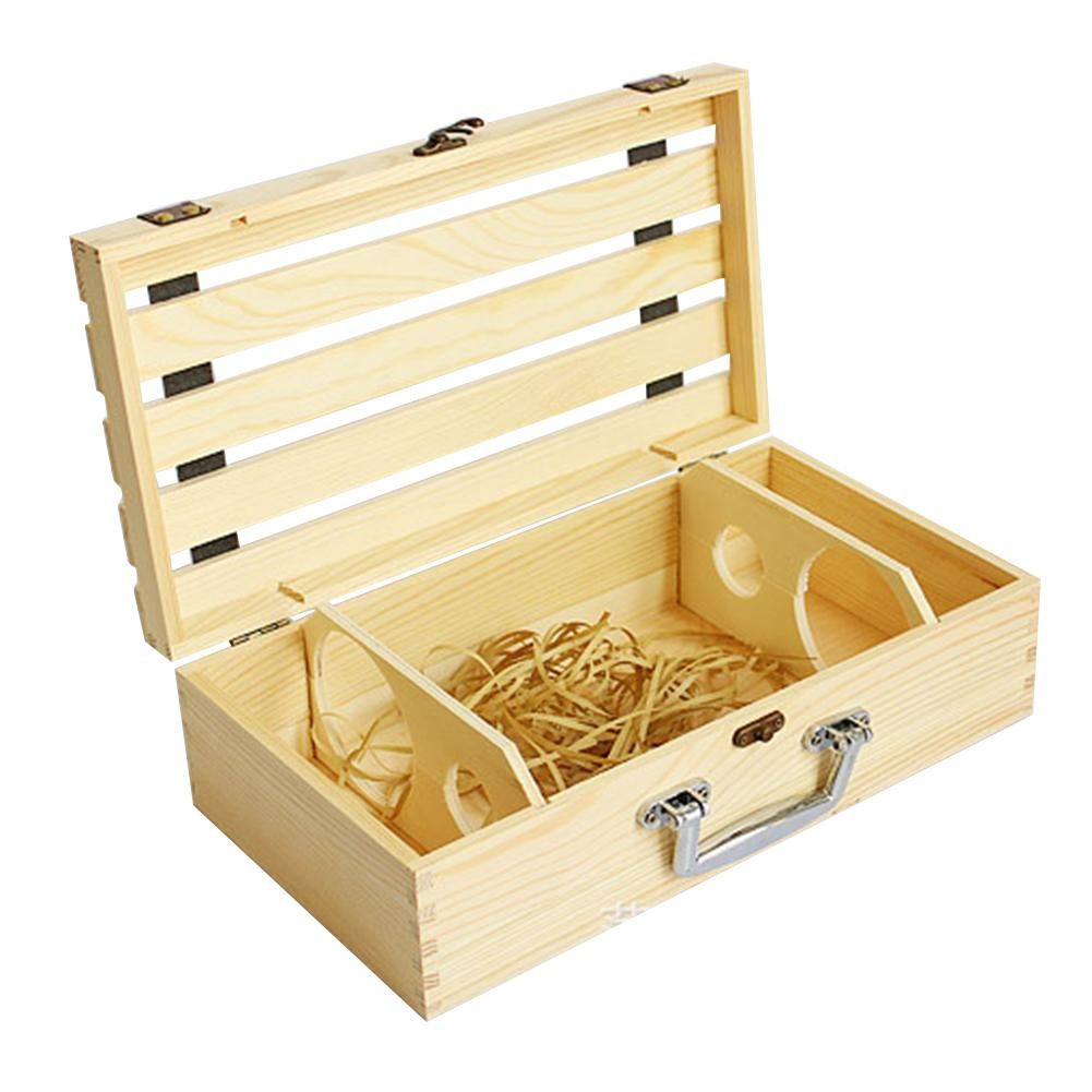 Honesty Wine Wooden Pine Box For Double Bottles Customized Packing Gift Box Grape Whiskey Birthday Gift Party Wood Box Complete Range Of Articles Storage Boxes & Bins