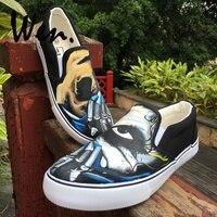 Wen Original Design Horror Mask Half Face Gloomy Gaze Custom Hand Painted Slip On Flats Shoes Male Black Canvas Boy Sneakers