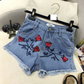 Summer Fashion Stylish Womens Embroidery Flower Ripped Hole Low Waisted Denim Shorts , Casual Destroyed Jeans Shorts For Woman