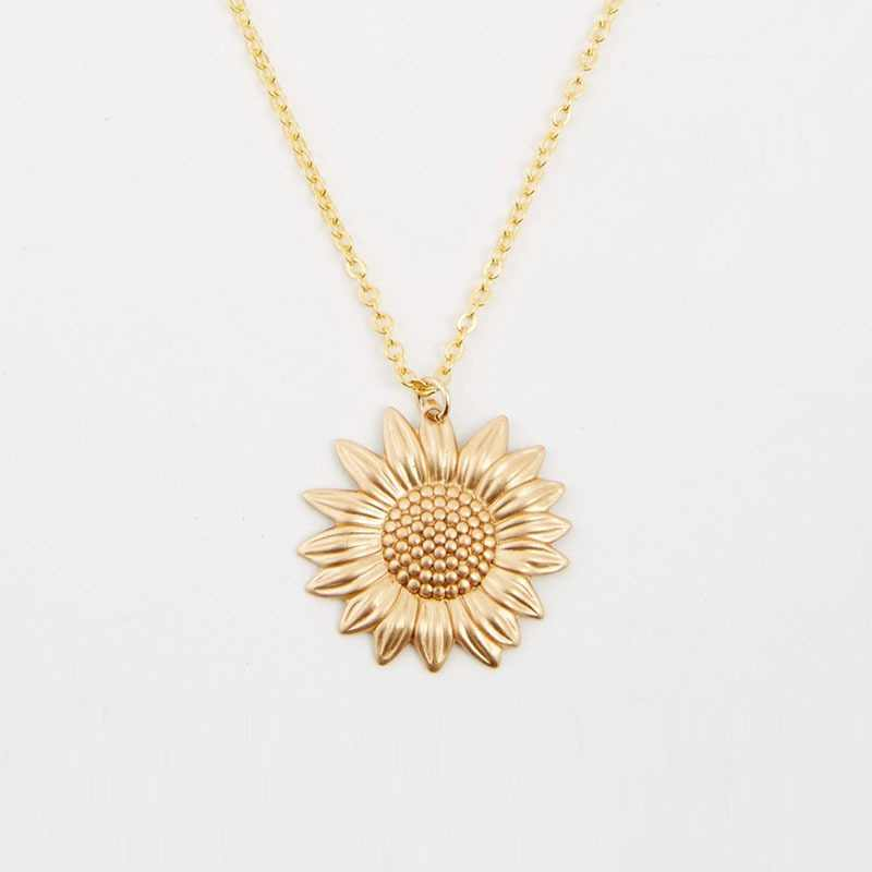 Punk Gold Sunflower Pendant Necklace Boho Botanical Flower Long Chain Necklace For Women Dainty Layering Gift Party Jewelry
