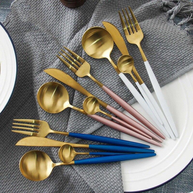 4pcs/Set Luxury Gold Dinnerware Set Stainless Steel Plating Knife Fork Tableware Cutlery European Western Food Set