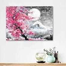 Настенная Картина на холсте с изображением цветущего вишневого