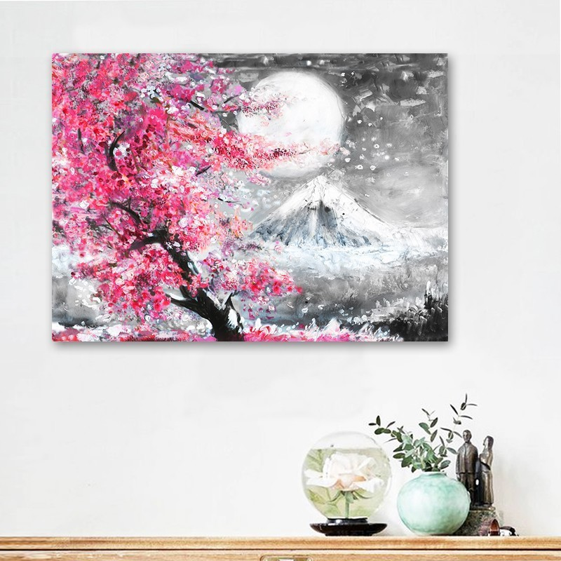 Mount Fuji Cherry Blossom Landscape Japan Canvas Painting Wall Art Poster Oil Prints Pictures For Living Room Kitchen Home Decor