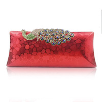 printing Hard shell Styling handbag Peacock switch Cheongsam dress bag Phoenix red Bridal bag A311