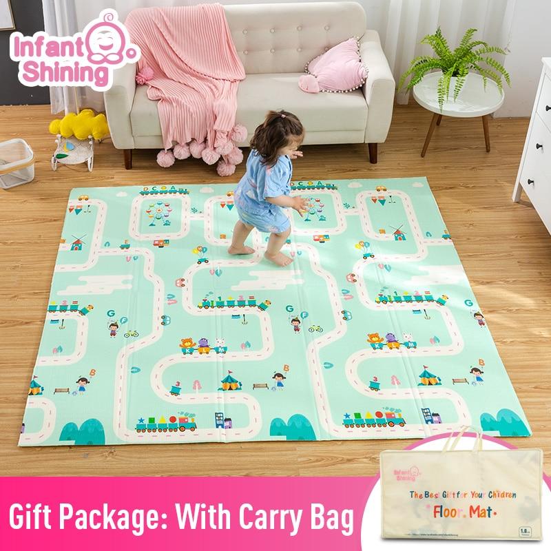 Infantile brillant bébé tapis de jeu pliant XPE ramper Pad 180*200 cm maison Portable extérieur pliant imperméable Puzzle Carprt tapis de jeu
