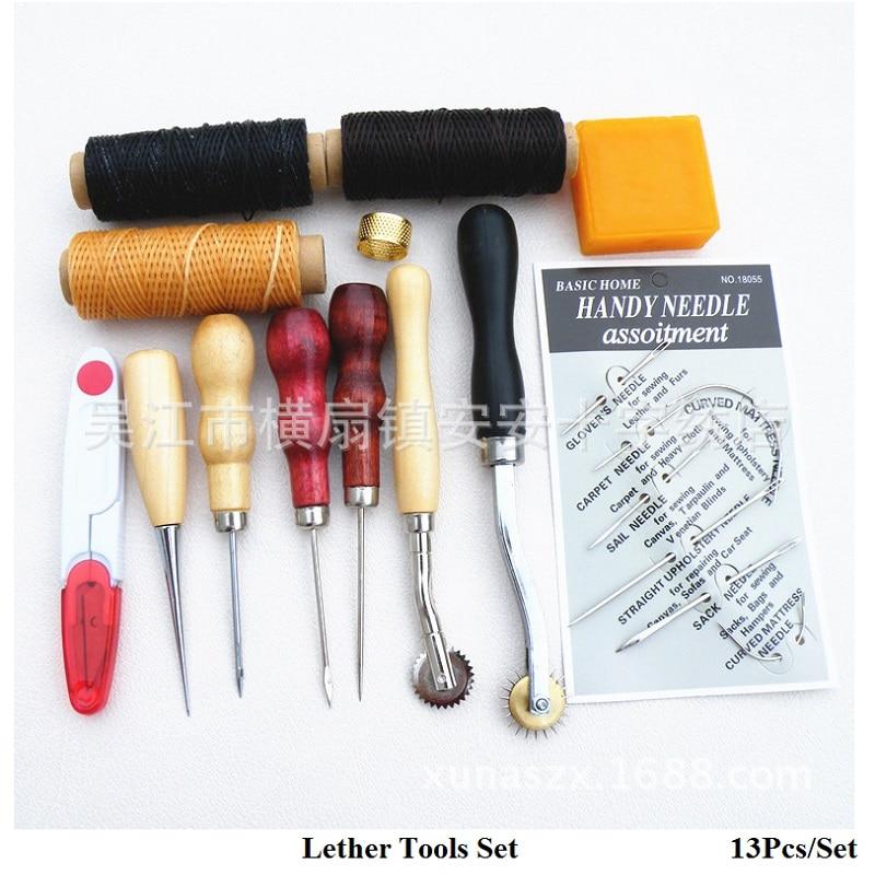 13pcs Leather Craft Hand Stitching Sewing Tool Leather Stiching Awl Needles Hand Tools Craft DIY Accessories Set