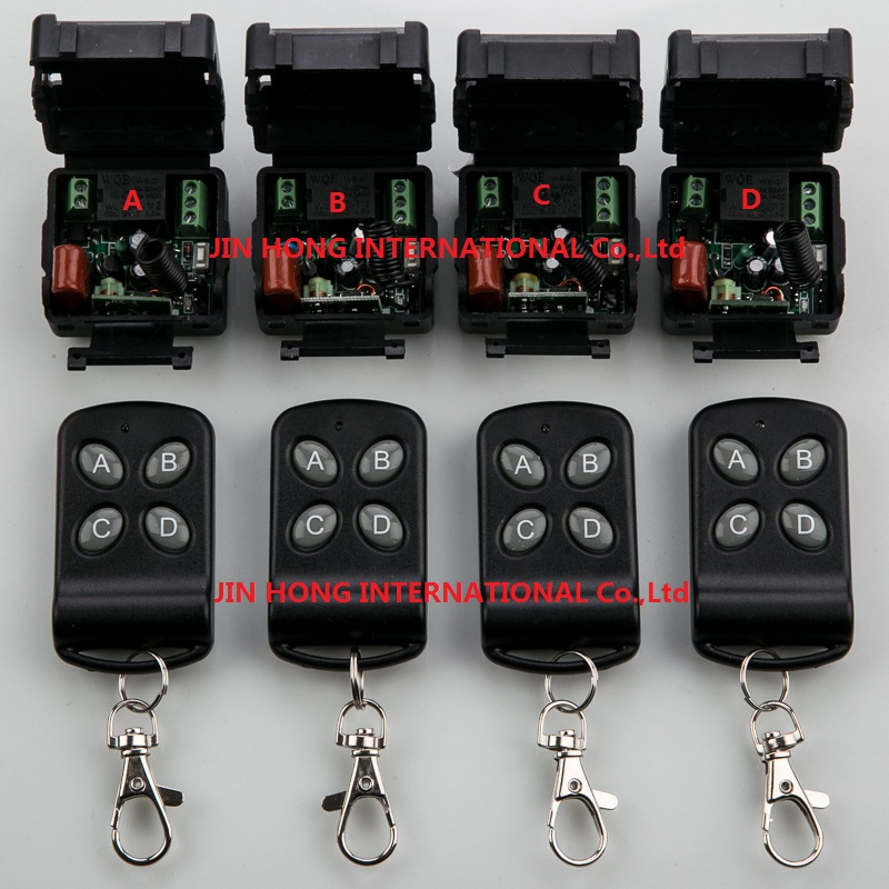 AC220V 1CH Wireless Remote Control System teleswitch 4 transmitter and 4 receiver universal gate remote control /radio receiver