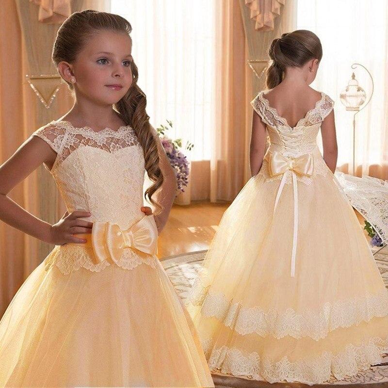 Новинка года, Открытое платье с цветочным рисунком на спине для девочек высококачественное свадебное платье с цветочным узором для мальчиков элегантное праздничное платье с кружевом и цветочным узором для девочек - Цвет: yellow
