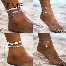 В том случае, если мне многослойные, в стиле бохо панцирь черепахи, Бусы Браслеты для Для женщин солнце и луна Винтаж пляжные туфли с завязками на щиколотке браслет на ногу летние ног Ювелирные изделия
