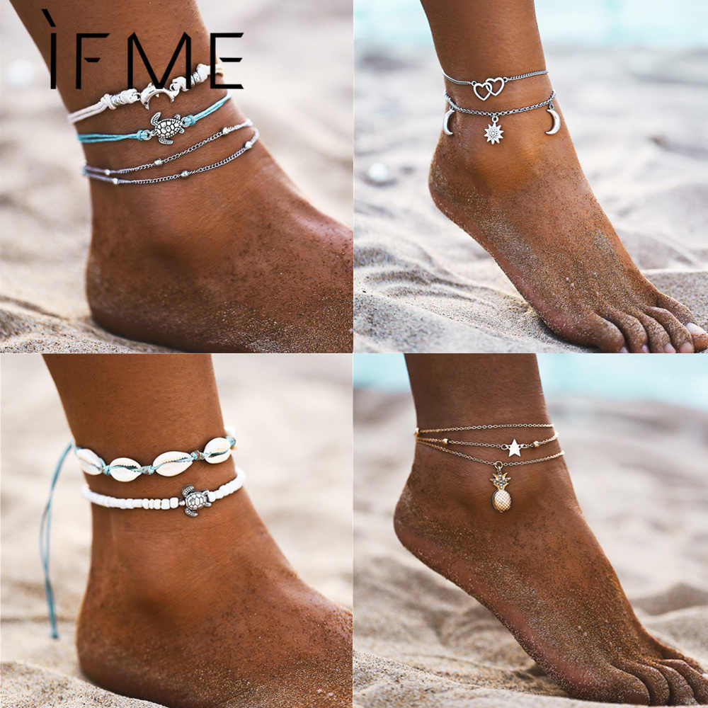 IF ME Boho Multilayer Turtle Shell Beads Anklets For Women Moon Sun Vintage Beach Rope Ankle Bracelet on Leg Summer Foot Jewelry