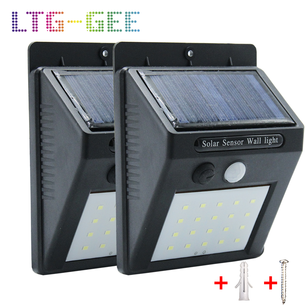 20 <font><b>30</b></font> <font><b>LED</b></font> <font><b>Solar</b></font> Light Outdoor <font><b>Solar</b></font> Lamp PIR Motion Sensor <font><b>Solar</b></font> Panel Night Security Wall Light Garden Yard Path Waterproof image