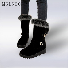 New 2017 Autumn Winter warm Snow Boots Shoes Rabbit Fur Women Platform Fashion Women's Boots ladies Woman Ankle Botas Size 34-43 2017 new fashion autumn winter genuine leather women ankle boots brand quality black woman shoes snow boots plus size 34 43