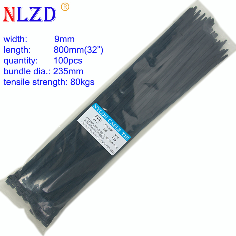 """Black 12/"""" Inch UV Resistant Nylon Cable Zip Wire Tie 40 lbs 100 Pack Lot Pcs"""