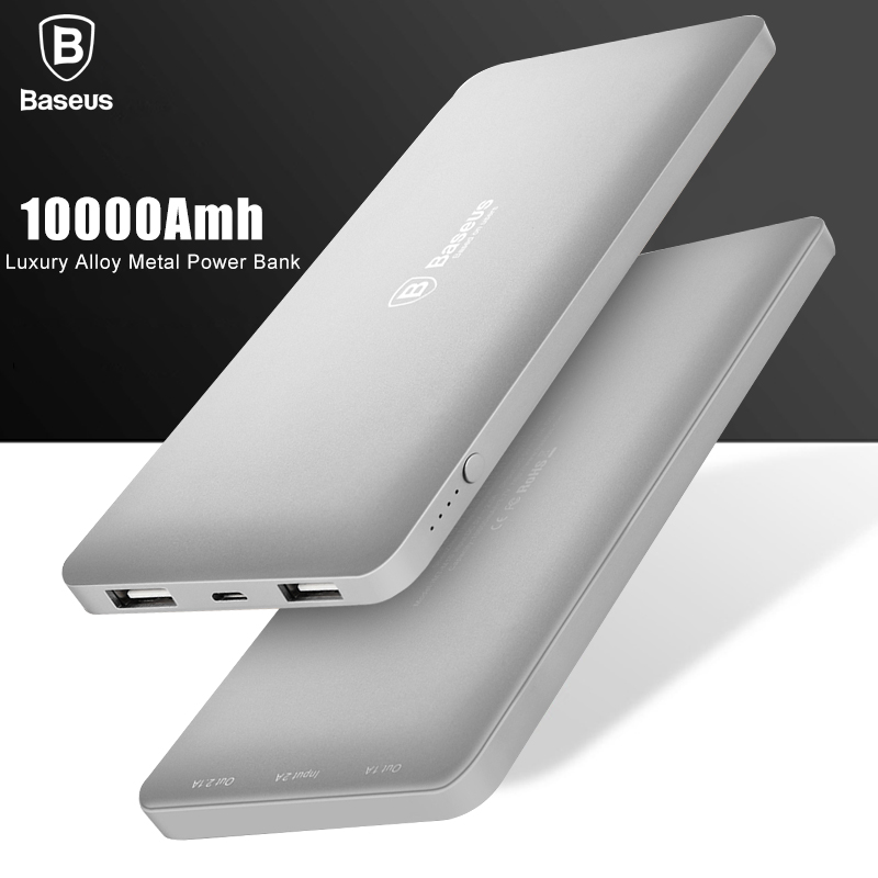 Цена за Baseus 10000 мАч Dual USB Power Bank Для Мобильного Телефона Аккумулятор зарядное устройство Внешнего Резервного Powerbank Для iPhone 6 7 Samsung S8 батареи