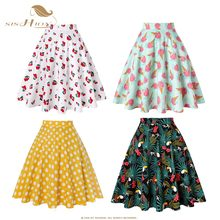 bd464bad3 SISHION Black Summer Skirt High Waist Plus Size Floral Print Polka Dot  Ladies Plaid Women Skirt Swing Vintage Skirts Womens