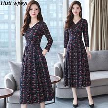 69ce6751099 Плюс размер 2018 осень зима новые цветочные миди платья женские Элегантные  корейские облегающие платья с v-образным вырезом Вече..