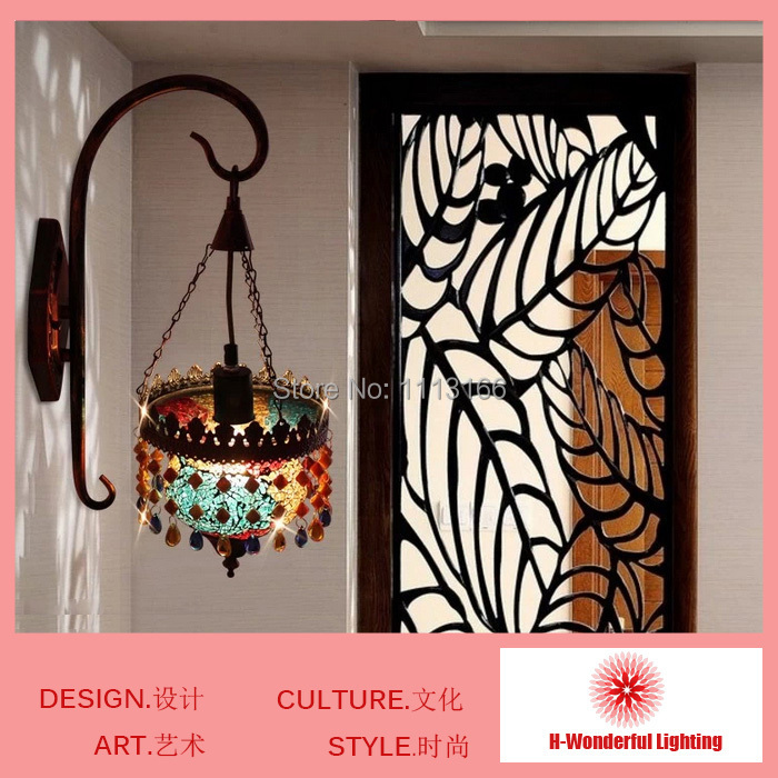 New 2014 High quality Southeast Aisa style Tiffany stained Glass & Art iron crystal  lamp on the wall Decor house wholesales 2014 high quality new inventions crystal magic mirror lightbox led