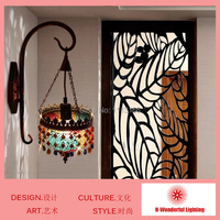 High Quality Southeast Aisa Style LED Indoor Wall Lamps Art Iron Crystal And Stained Glass Wall