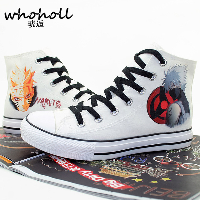 2020 hommes femmes Anime impression toile chaussures Design Anime chaussures sans lacet toile femmes chaussures Naruto femmes peint à la main conseil chaussures 44