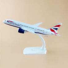 20cm Metal Plane Model Air British Airways Boeing 787 B787 Airplane Model Airlines w Stand Aircraft Kids Gift(China)