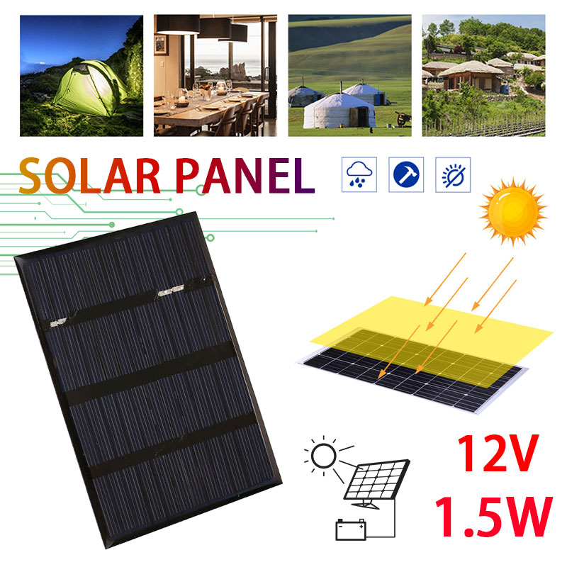 Environmental Reusable 1.5W 12V Solar Cells Home Improvement Solar Panel Charging Equipment Polysilicon Outdoor
