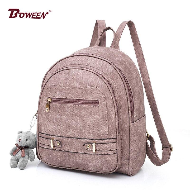 solid pu leather backpack women bag large school back pack female Bagpack Ladies back bag youth College Wind 2018