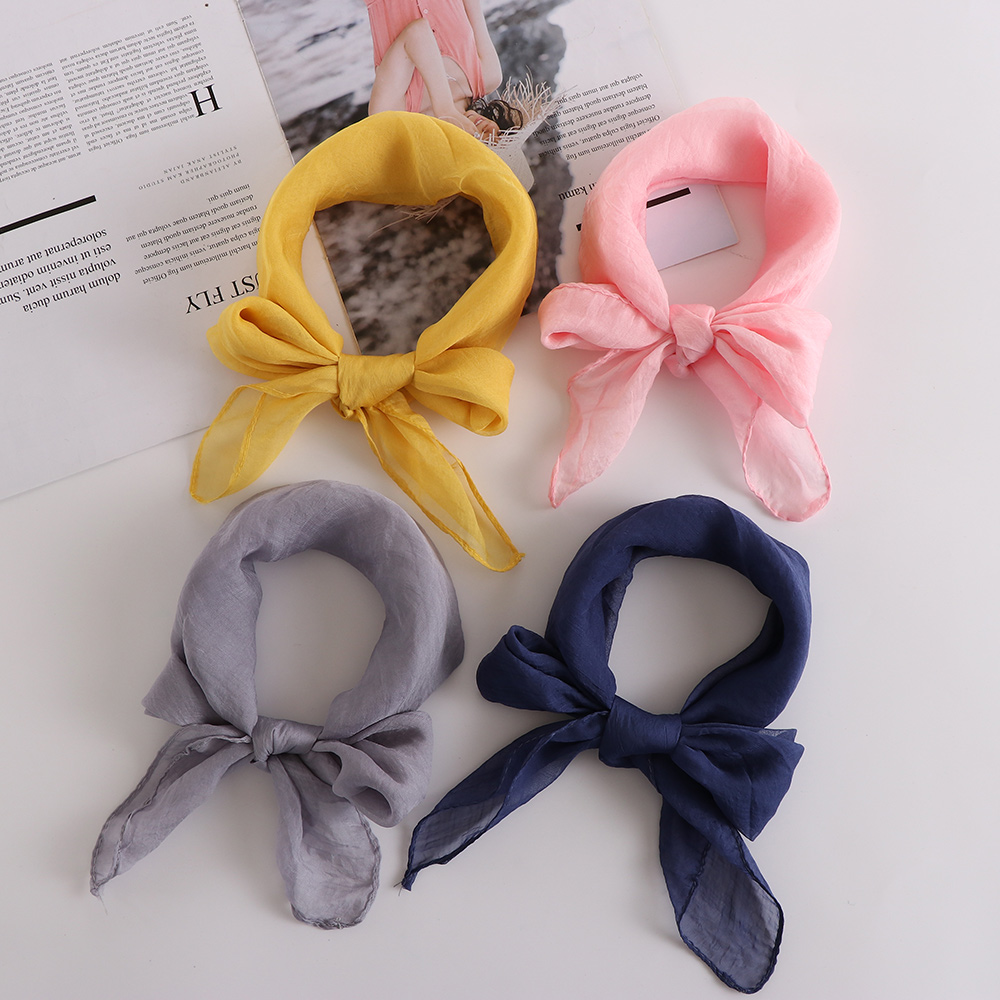 New Sweet Lady Chiffon Silk Square   Scarf   Neck   Wrap   Shawl For Women Girl Soft Hair Tie Band Elegant Neckerchief Gifts Accessories