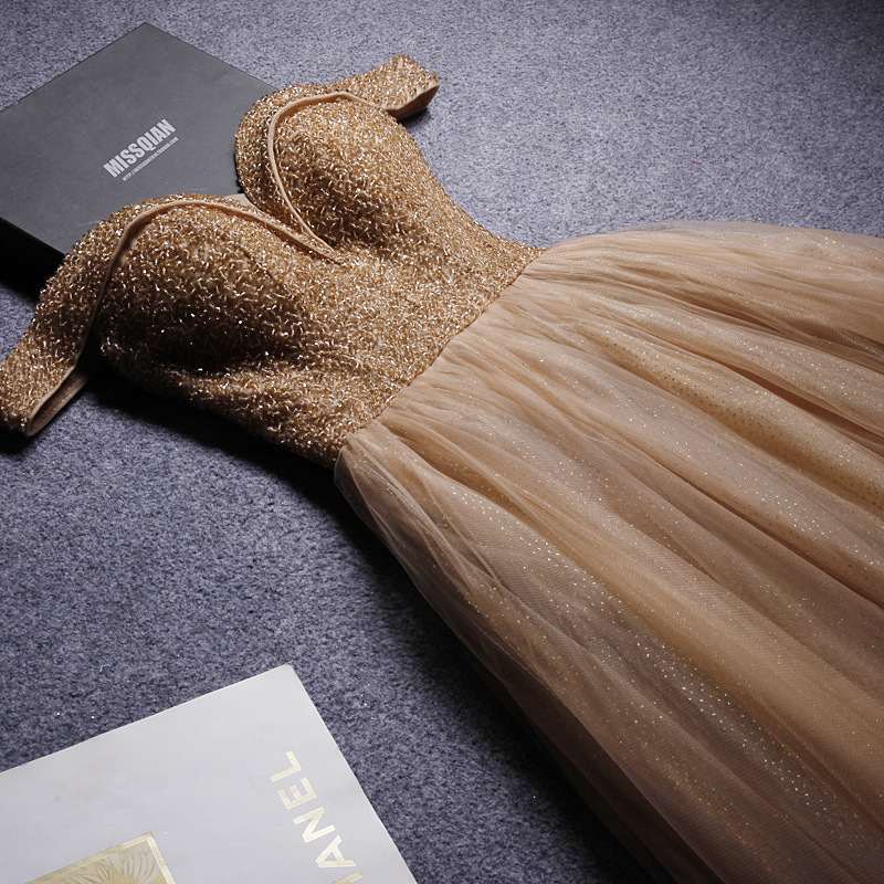 2019 Luxury Beading Long Evening Dresses Elegant Tulle Champagne Prom Gowns Formal Party Dress Lace Up Back Vestido De Festa