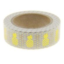 White Pineapple Foil Washi Tape Scrapbooking Tool Cute Decorative Cinta Adhesiva Decorativa Japanese Stationery Washi Tapes Mask