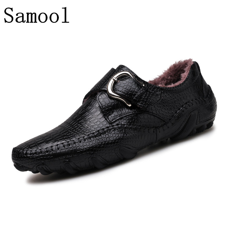 2017 Genuine Leather Shoes Plush Fur Loafers Crocodile Skin Oxfords Casual Shoes For Men Fashion Zapatos Hombre Big Size 38-47 choudory crystal rhinestone men shoes luxury genuine leather loafers slip on party oxfords zapatos hombre 2016