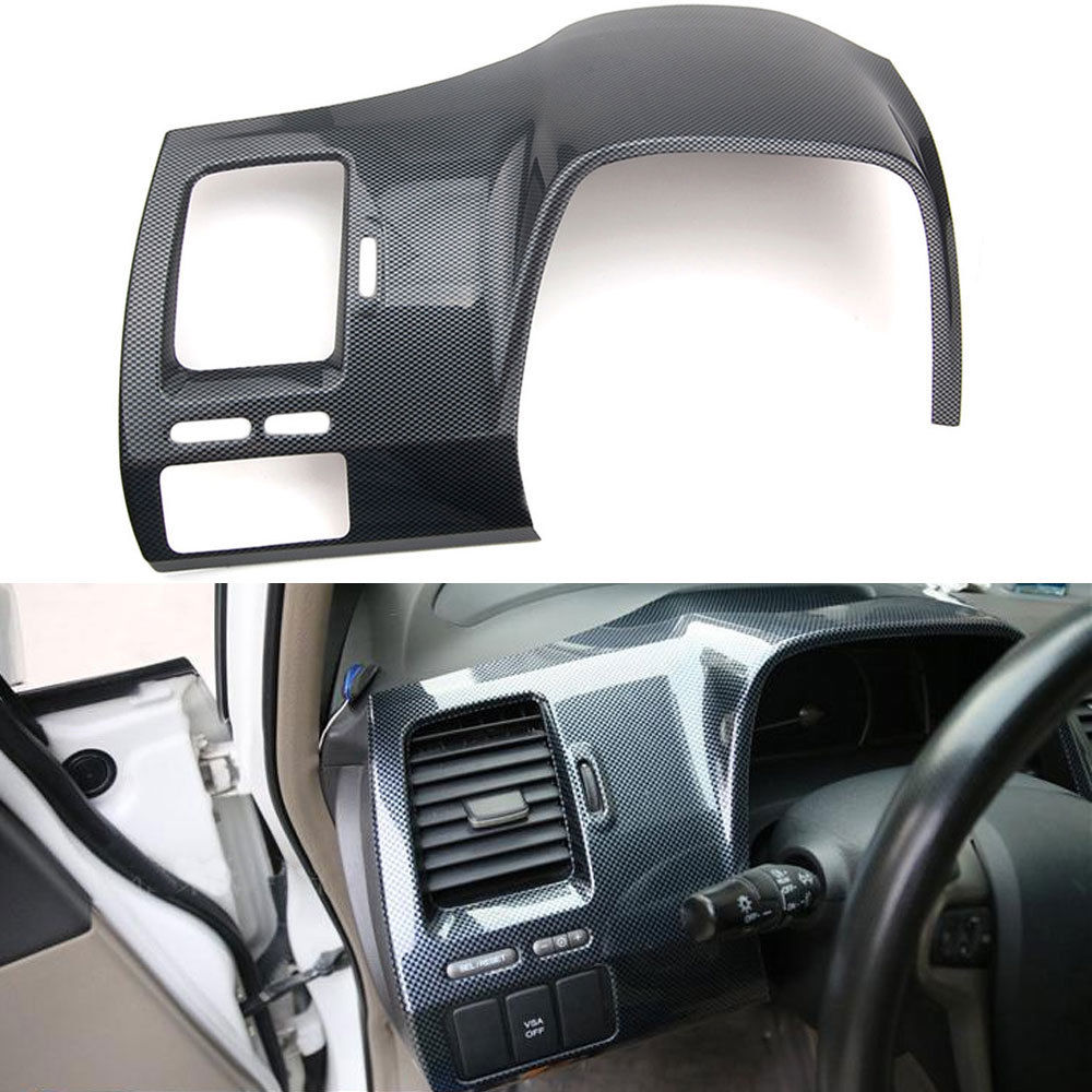 Carbon Fiber ABS Driver Side Dashboard Cover Trim For Honda Civic 8th 2006 2007 2008 2009