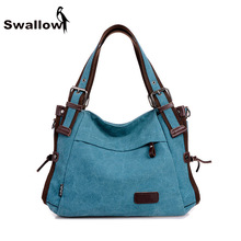 2016 Fashion Canvas Bag Women Handbag Shoulder Bags Messenger Bags Casual Blue Hobos Bolsa Feminina High Quality Large Capacity