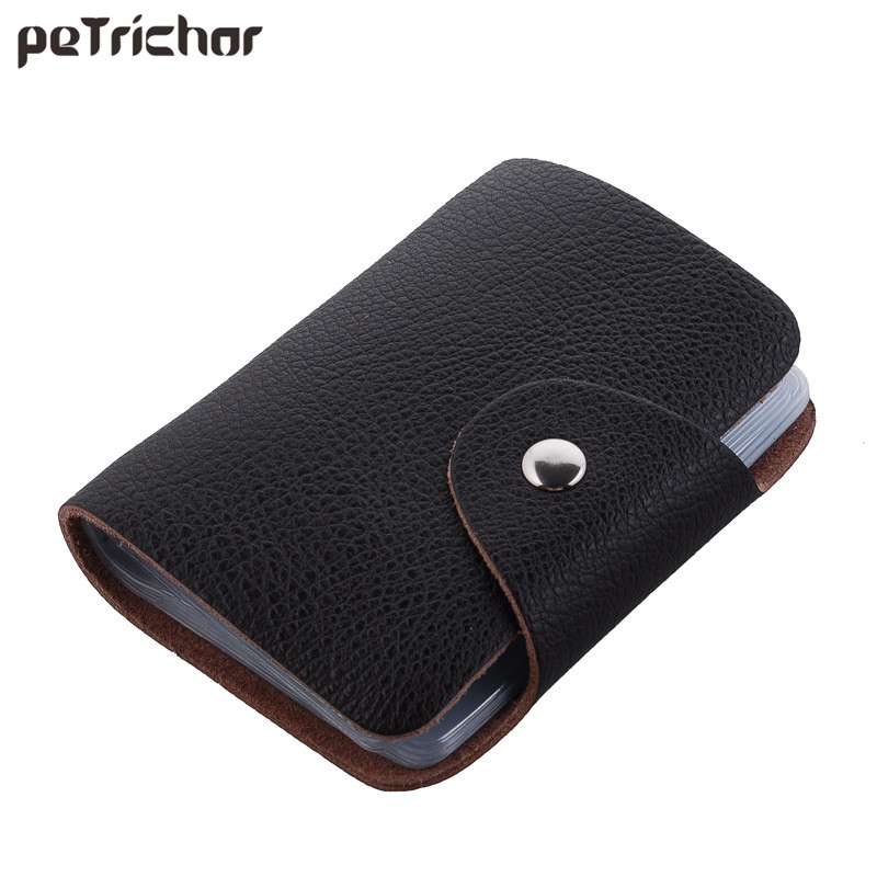 26 Card Slots Women Men Genuine Leather Credit Card Holder Case Card Holder Wallet Business Card Package PU Leather Bag bovis 5102 02 casual man s pu credit name card wallet slots coffee