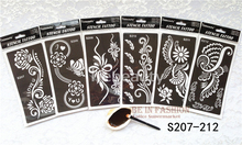 6pcs/lo Mehndi Indian Henna Tattoo Stencil Reuseable Henna Tatoo Template Professional Tattoos Stencils For Hand Painting Bride