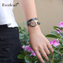 EVERLEAD обертывание браслет из натуральной кожи Ювелирные изделия для женщин диффузор парфюмерный для ароматерапии из нержавеющей стали металлический черный браслет с медальоном