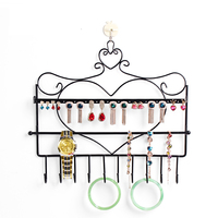 Free Shipping Wrought Iron Wall Mounted Frame Earrings Necklace Holder Accessories Storage Rack Jewelry Plaid Display