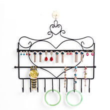 Free shipping Wrought iron wall mounted frame earring necklace holder bronze accessories storage rack jewelry plaid display rack