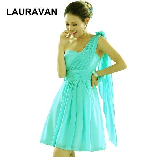 Turquoise Jurk Bruiloft.Korte Turquoise Green Een Schouder Bruidsmeisjes Jurken Van Party