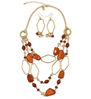 Handmade Crystal beads chain bohiemian statement necklace earring jewelry set