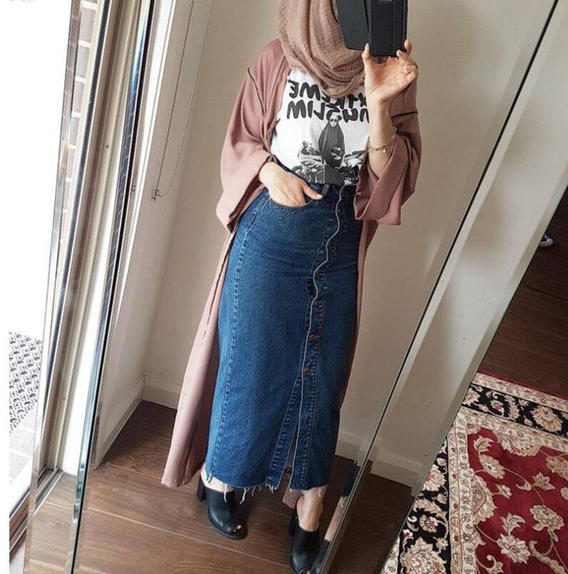 Women Dress Jeans Skirt Long Button Open Skirt Elegant Modest Dress Muslim Bottoms Ankle-Length Party Islamic Clothing Winter formal wear