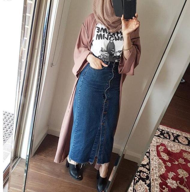 e9a1c09995 Women Dress Jeans Skirt Long Button Open Skirt Elegant Modest Dress Muslim  Bottoms Ankle-Length