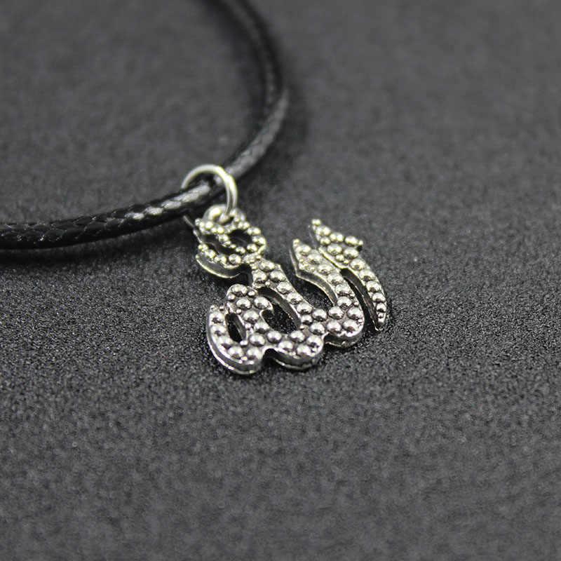Moda Allah muzułmanin naszyjnik posrebrzane wisiorek i naszyjniki Trendy Link łańcuch dla kobiet i mężczyzn HJXL1028