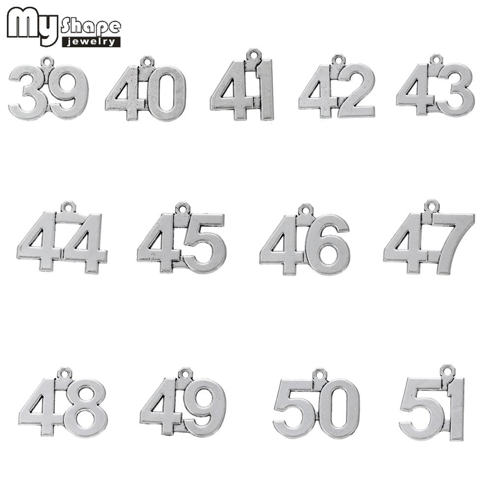 my shape 20pcs 39-51 Lucky Numbers Charms Pendants Handmade Fashion Jewelry  Findings 39 40 41 42 43 44 45 46 47 48 49 50 51