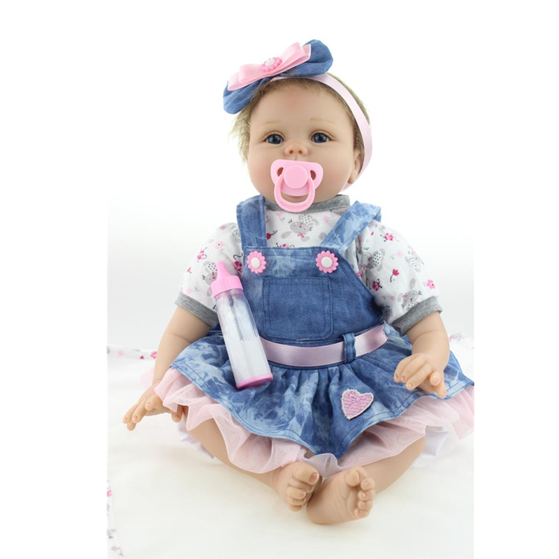 55cm Reborn Baby Doll Real Silicone Doll Kids Toys Girls Bebes De Silicona New Born Babies Blue and Brown Eyes to Choose