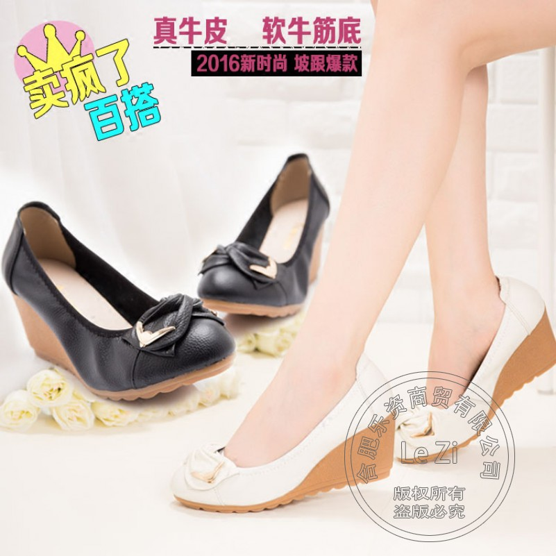 2015 Bow Korean Wedge Low Cut Uppers Supercolor Womens Nurse Boat Work Shoes Heels High Fashion