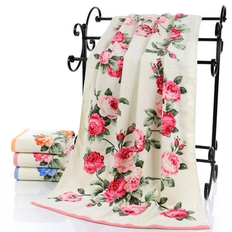 Hot sale Flower 70*140cm 100% cotton large towel bath for
