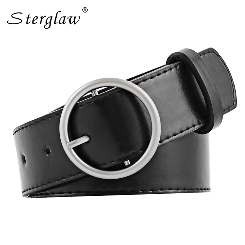 New Female Fashion Casual Round Buckle Wide Belts For Women Pinceis Jeans Belt Women's Leather Straps Ceinture 95-105cm N107