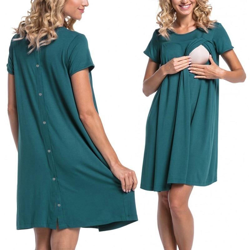 Brillant Enxi Casual Mutterschaft Pflege Kleid Kleidung Schwangerschaft Schwangere Solide Stillen Frauen Kleid Mutter Hause Kleidung