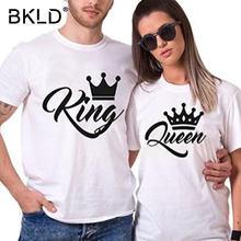 30f7dbb96b BKLD 2018 King Queen Letter Print Short Sleeve O-Neck T-Shirt Valentine  Women Men Funny Top Tee Couple Crown Shirt Cotton Shirts